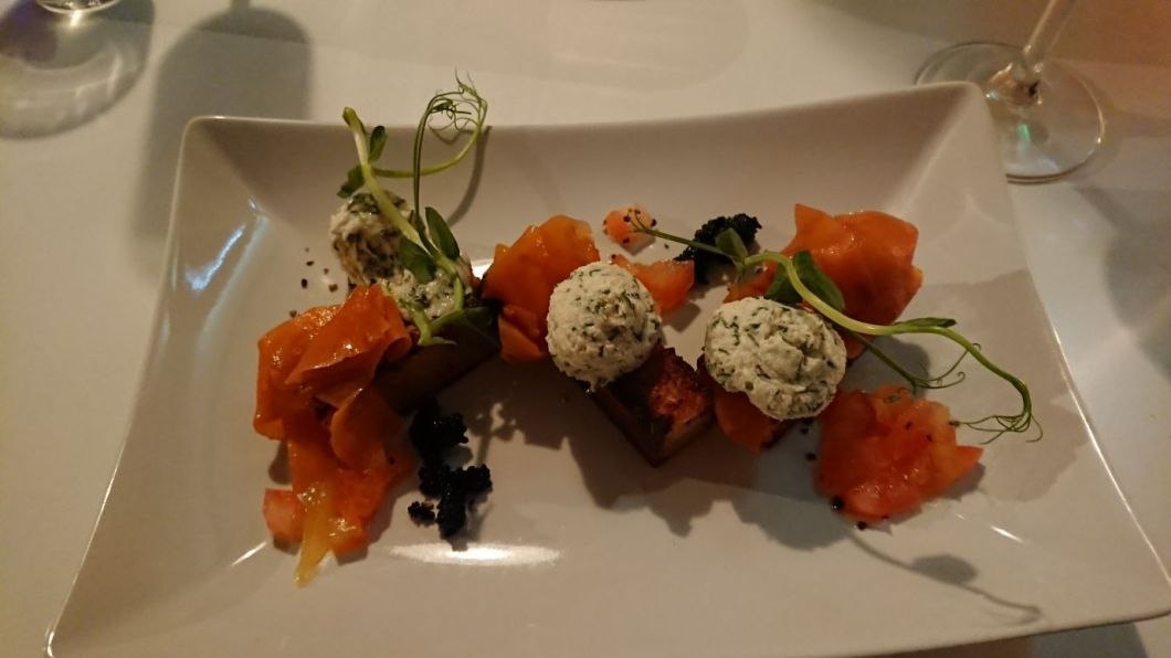 Smoked Salmon with dill cream cheese on potato kugel
