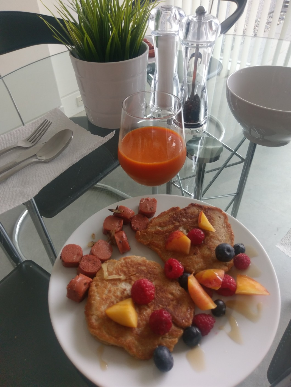 Homemade vegan breakfast on holidays in Vancouver